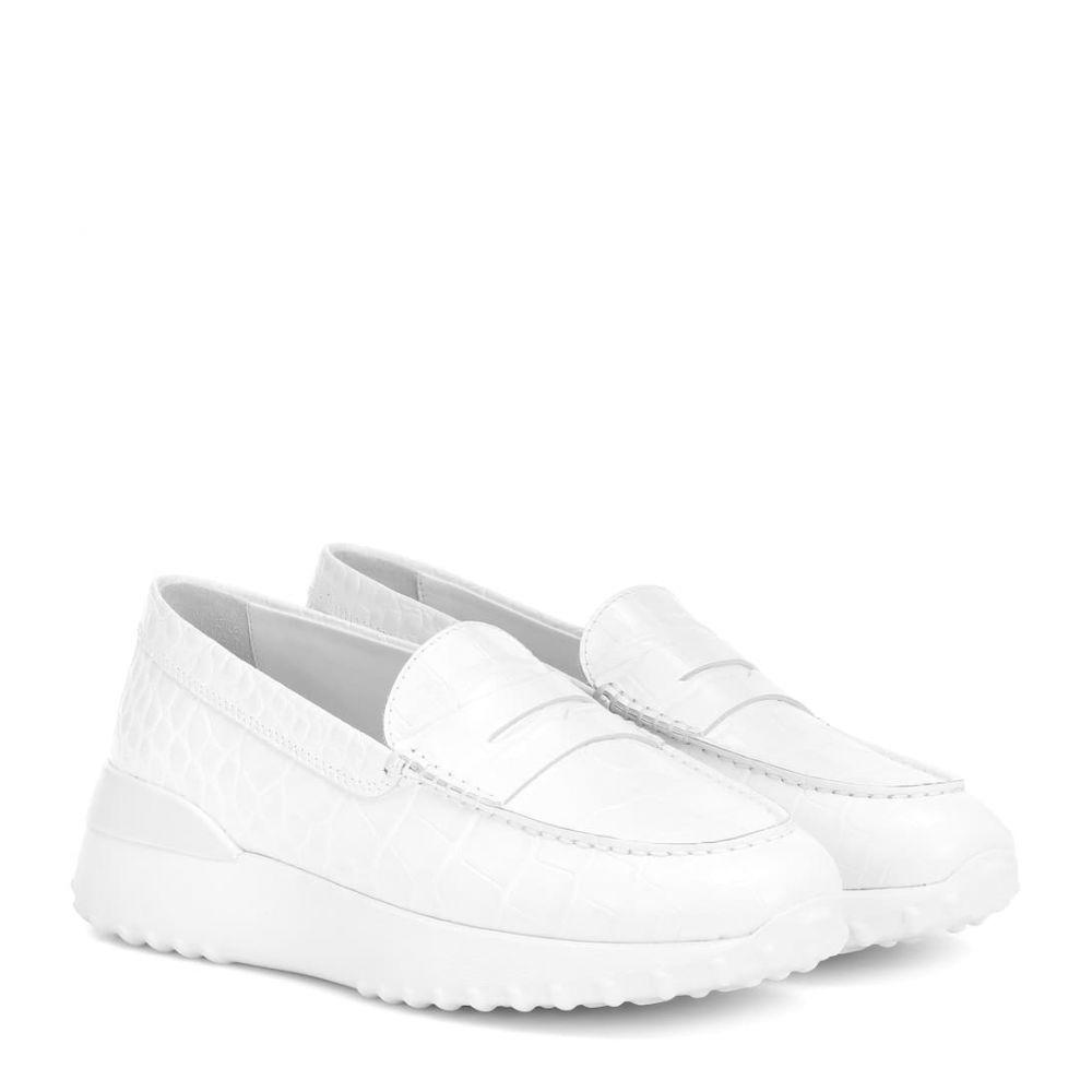 トッズ Tod's レディース シューズ・靴 ローファー・オックスフォード【croc-effect leather loafers】Bianco/Fondo In Tinta
