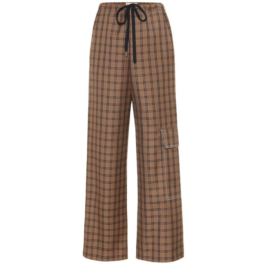 マルニ Marni レディース ボトムス・パンツ【Checked virgin wool wide-leg pants】Bark