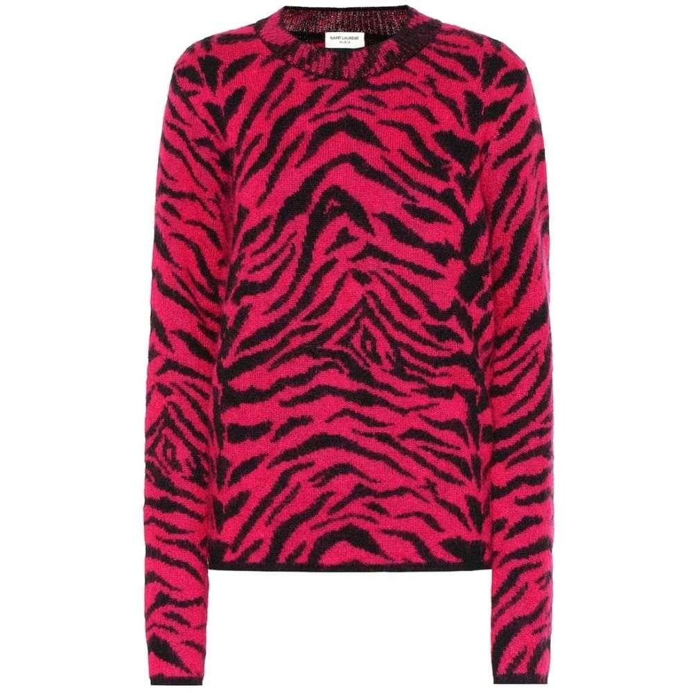 イヴ サンローラン Saint Laurent レディース トップス ニット・セーター【Wool and mohair-blend sweater】Fushia/Noir
