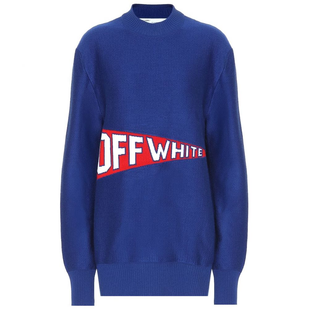 オフ-ホワイト Off-White レディース トップス ニット・セーター【Stretch wool blend sweater】Blue Red