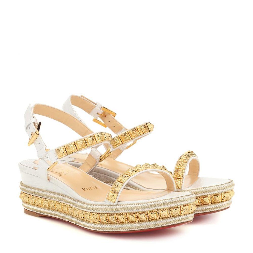 クリスチャン ルブタン Christian Louboutin レディース シューズ・靴 サンダル・ミュール【Pyraclou 60 metallic leather sandals】version white
