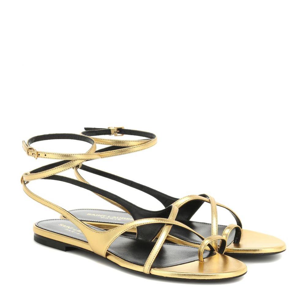 イヴ サンローラン Saint Laurent レディース シューズ・靴 サンダル・ミュール【Gia metallic leather sandals】oro
