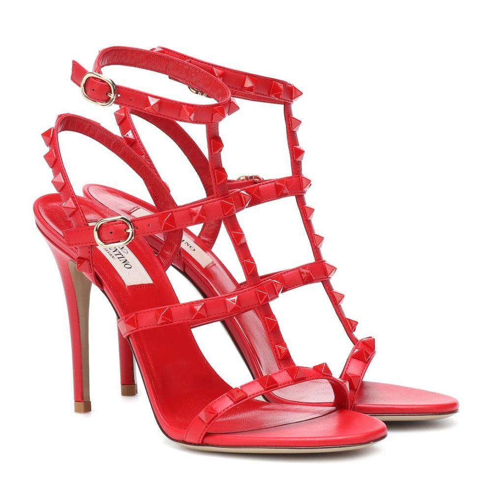 ヴァレンティノ Valentino レディース シューズ・靴 サンダル・ミュール【Garavani Rockstud leather sandals】Rouge Pur