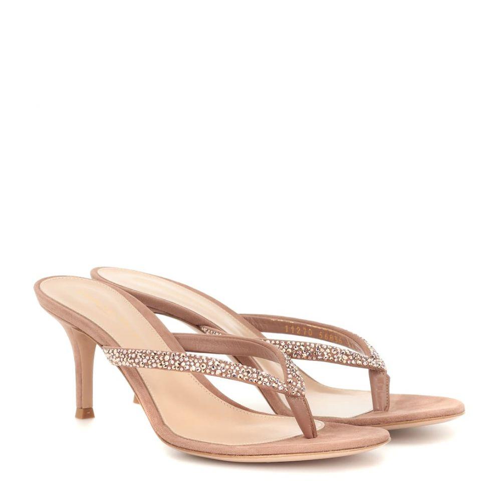 ジャンヴィト ロッシ Gianvito Rossi レディース シューズ・靴 サンダル・ミュール【Diva embellished suede sandals】Praline