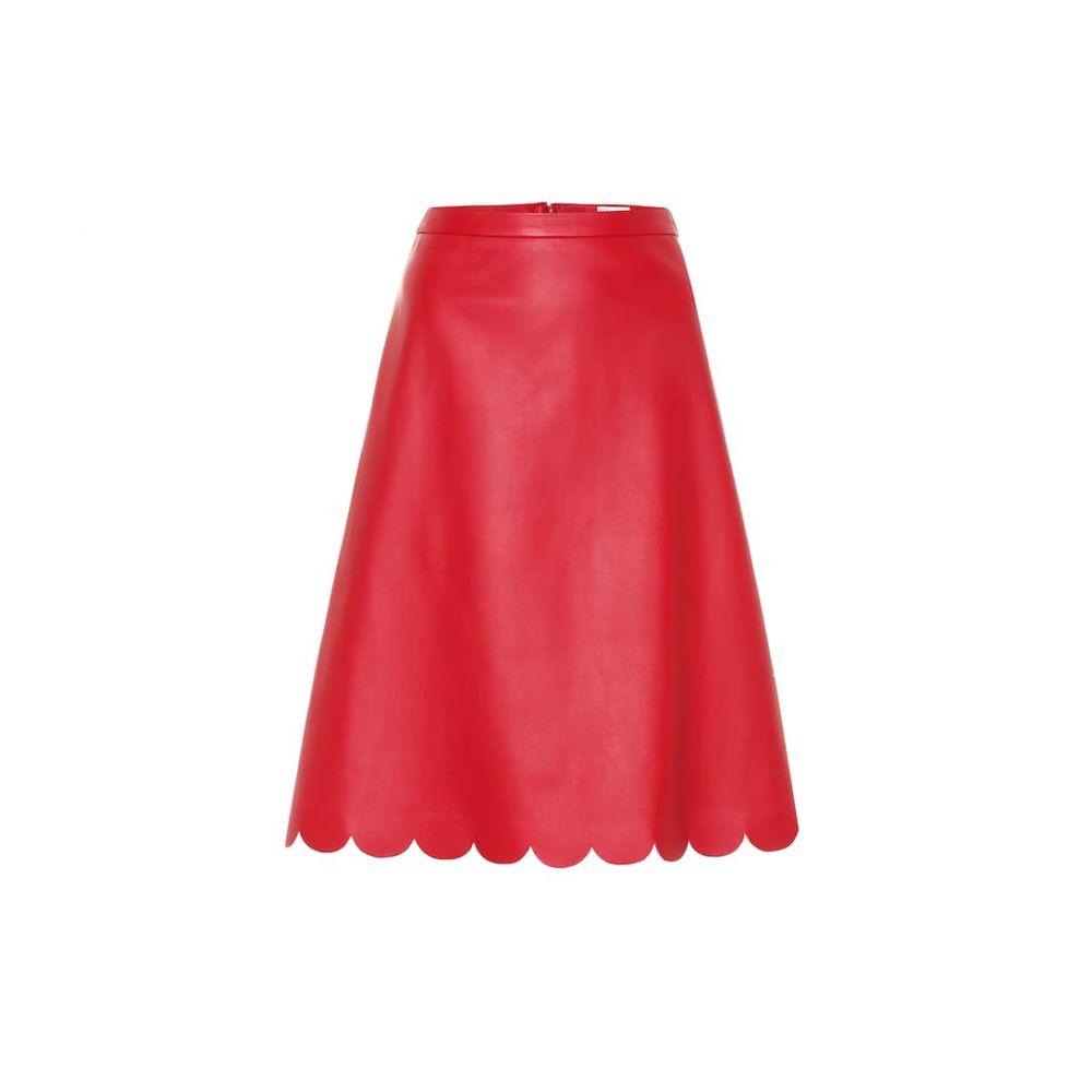 レッド ヴァレンティノ REDValentino レディース スカート ひざ丈スカート【Scalloped A-line leather skirt】deep red