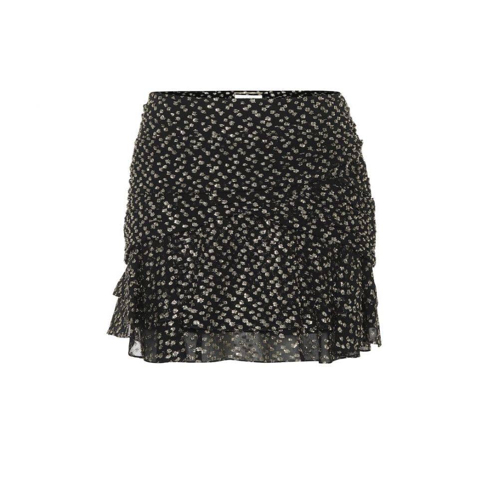 イヴ サンローラン Saint Laurent レディース スカート ミニスカート【Fil coupe silk-blend miniskirt】Noir Or