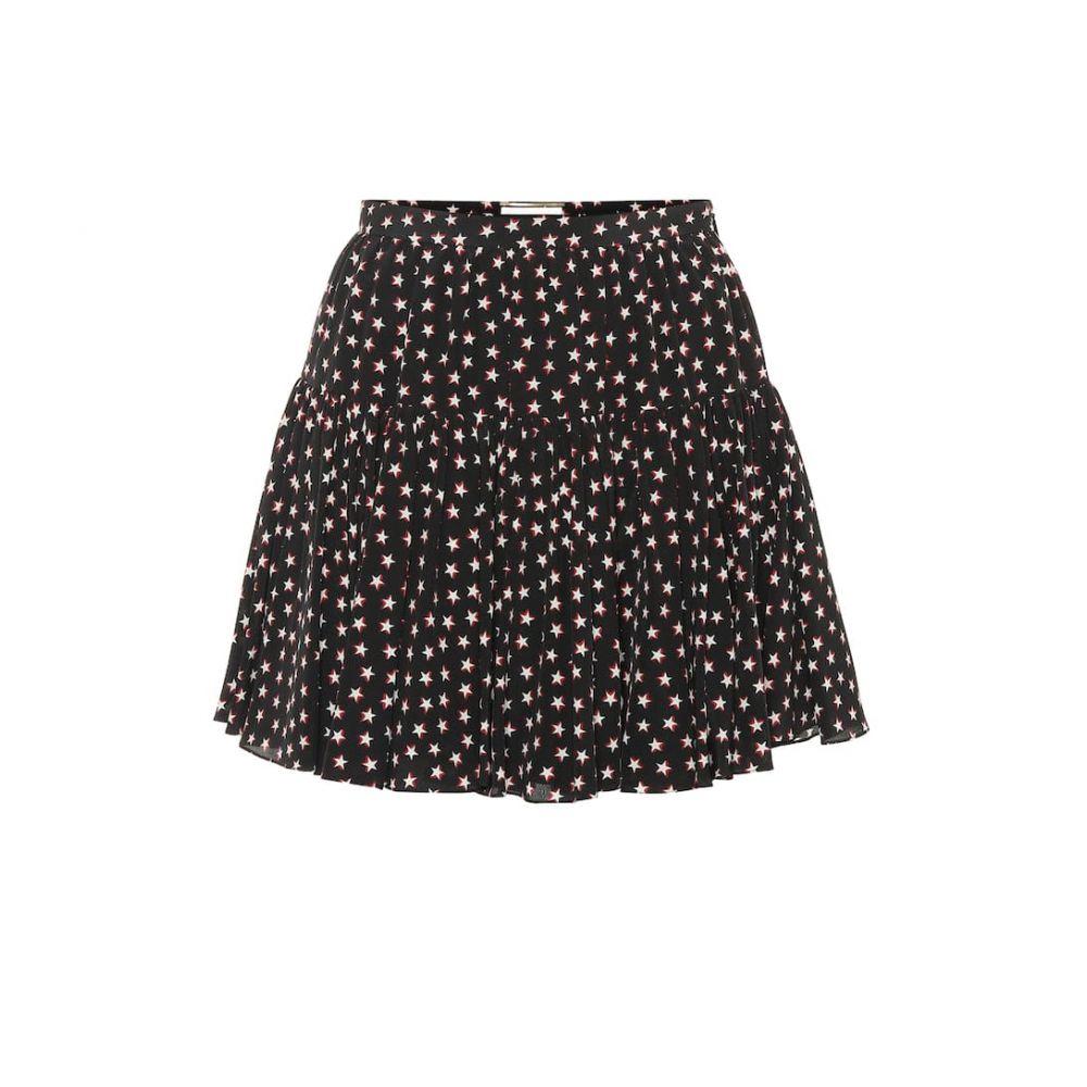 イヴ サンローラン Saint Laurent レディース スカート ミニスカート【Printed silk miniskirt】Noir Rouge Craie