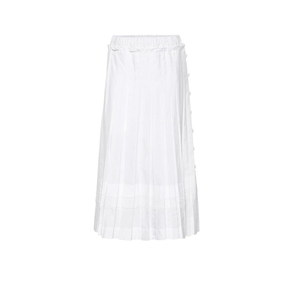 シモーネ ロシャ Simone Rocha レディース スカート ひざ丈スカート【Pleated cotton midi skirt】White/White