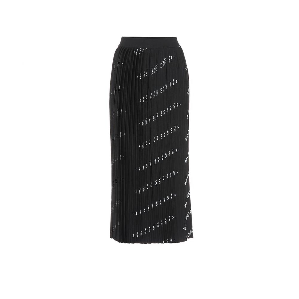 バレンシアガ Balenciaga レディース スカート ひざ丈スカート【Allover Logo pleated knit midi skirt】Black/White