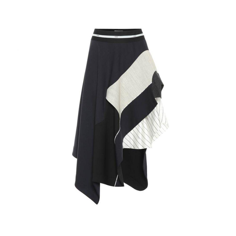 モンス Monse レディース スカート ひざ丈スカート【Stretch-wool midi skirt】Navy/Black