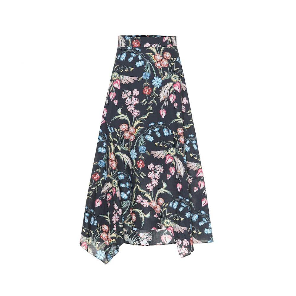 ピーター ピロット Peter Pilotto レディース スカート ひざ丈スカート【Floral-printed midi skirt】Flower Flied Navy