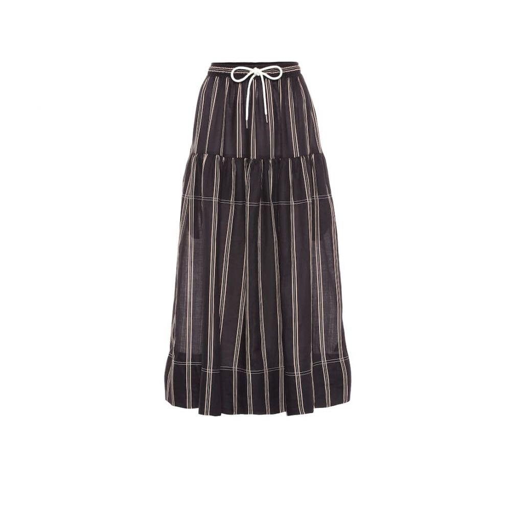 リーマシューズ Lee Mathews レディース スカート ひざ丈スカート【Granada striped ramie skirt】Black