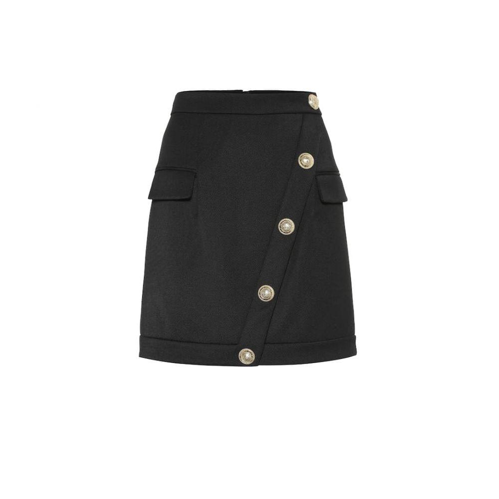 バルマン Balmain レディース スカート ミニスカート【Embellished wool-twill miniskirt】Noir