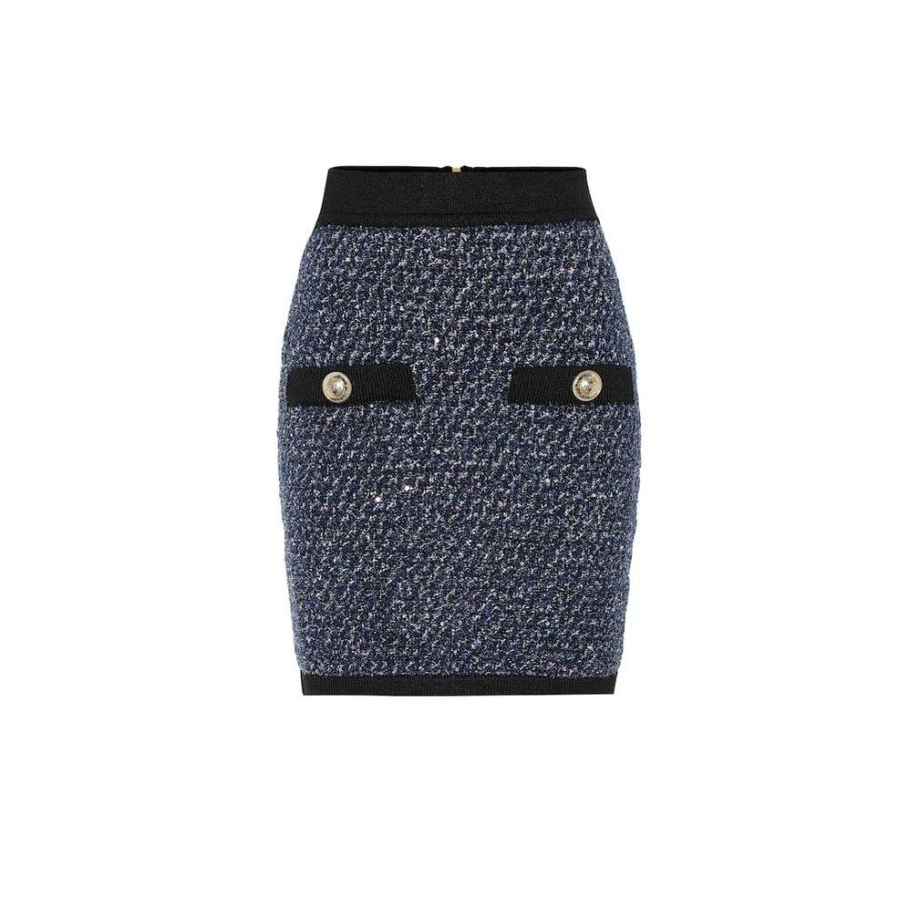 バルマン Balmain レディース スカート ミニスカート【Tweed miniskirt】Bleu/Noir/Naturel