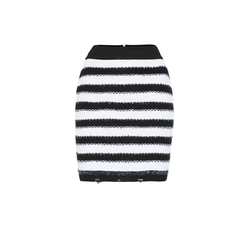 バルマン Balmain レディース スカート ミニスカート【Striped knit miniskirt】Noir/Blanc