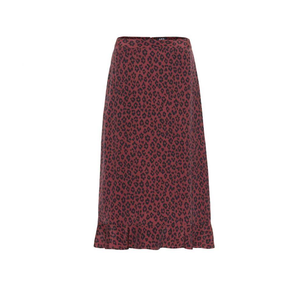 アーペーセー A.P.C. レディース スカート ひざ丈スカート【Leopard-print midi skirt】Maroon