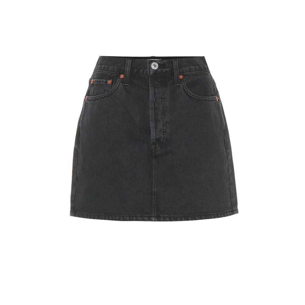 リダン Re/Done レディース スカート ミニスカート【60s high-rise denim miniskirt】Washed Black