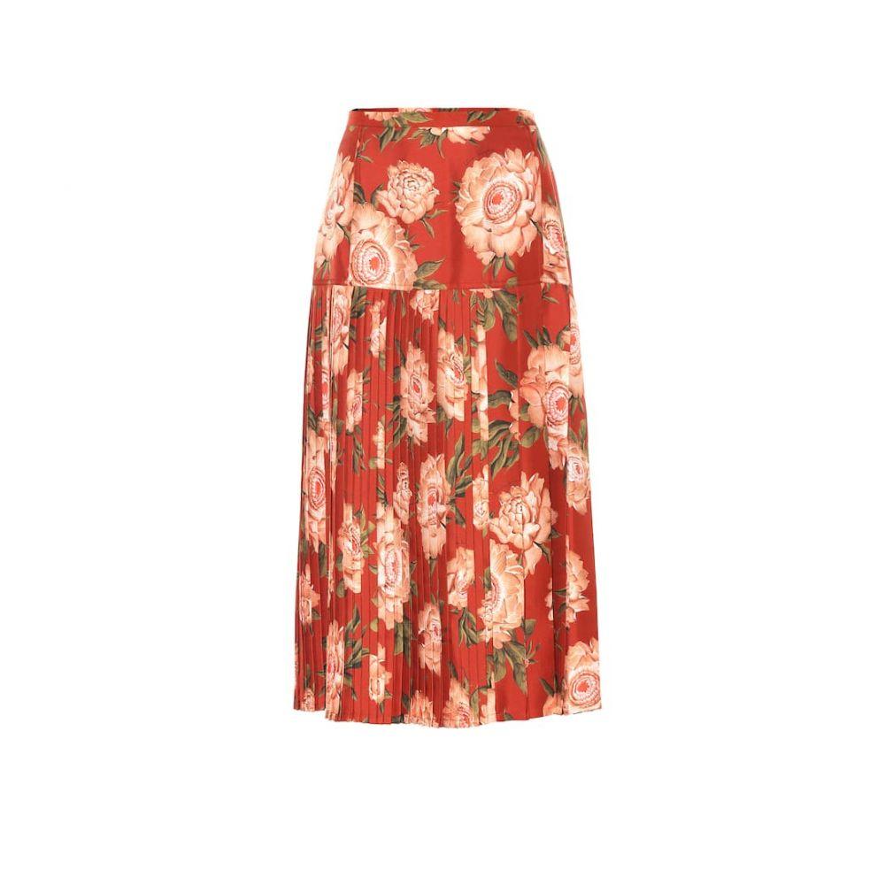 サルヴァトーレ フェラガモ Salvatore Ferragamo レディース スカート ひざ丈スカート【Floral silk midi skirt】Fdo Paprika