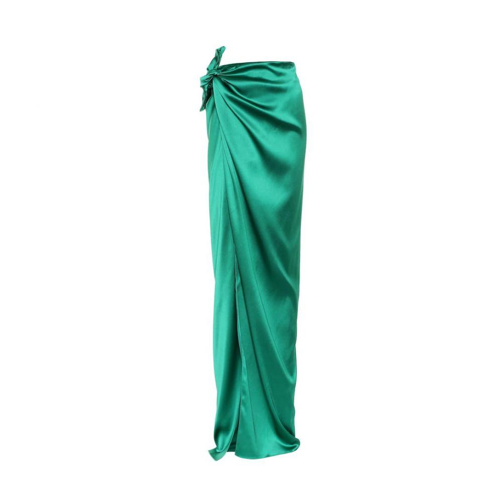 バレンシアガ Balenciaga レディース スカート ロング・マキシ丈スカート【Satin maxi wrap skirt】Emerald