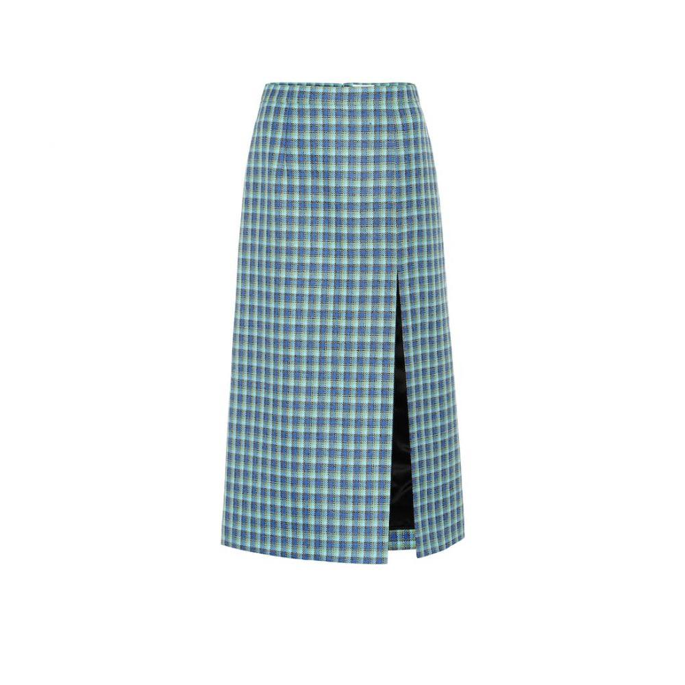 バレンシアガ Balenciaga レディース スカート ひざ丈スカート【Checked wool pencil skirt】Blue/Azure