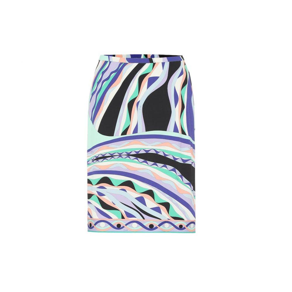 エミリオ プッチ Emilio Pucci レディース スカート ミニスカート【Printed silk-blend jersey skirt】Smeraldo/Viola