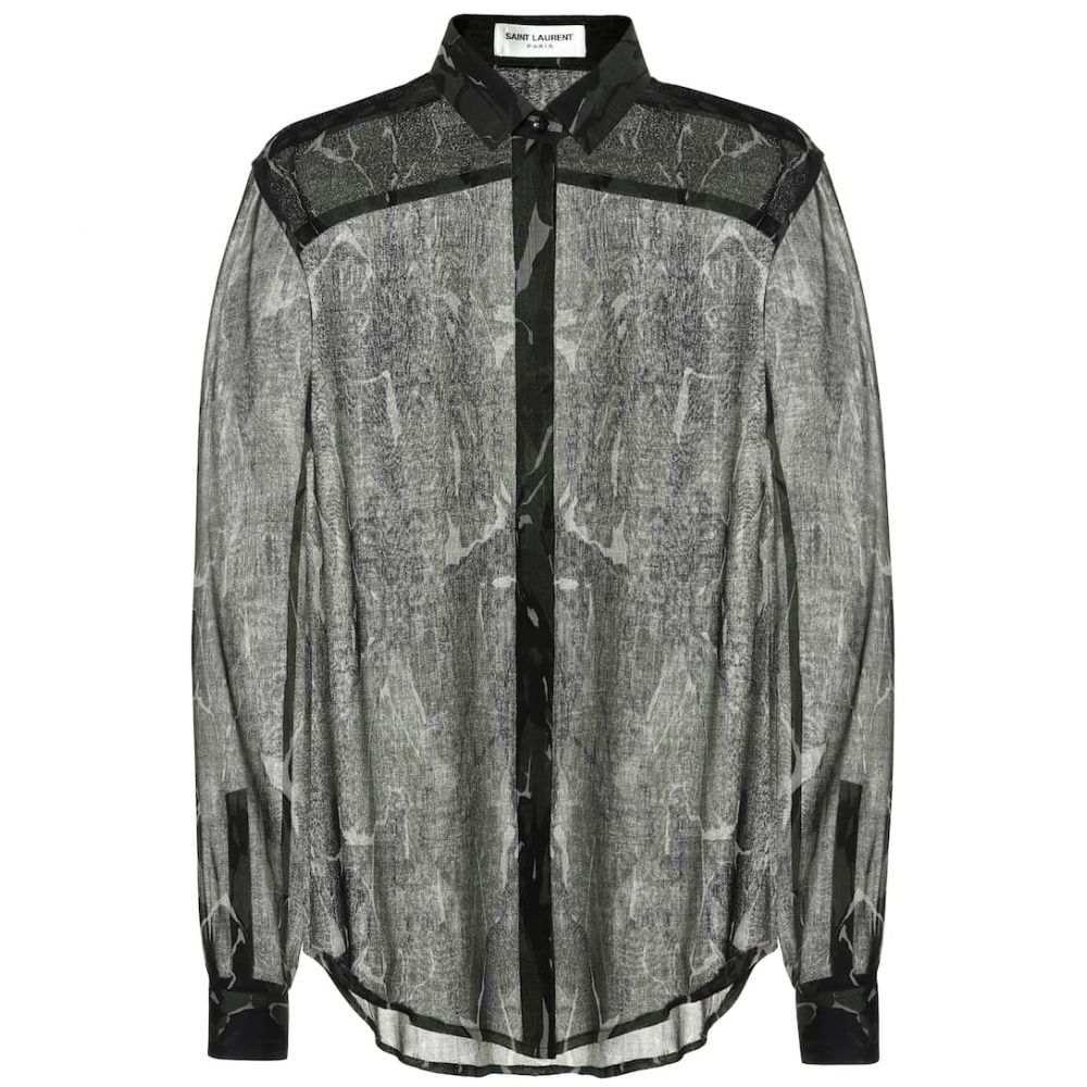 イヴ サンローラン Saint Laurent レディース トップス ブラウス・シャツ【Camouflage virgin wool shirt】Militaire
