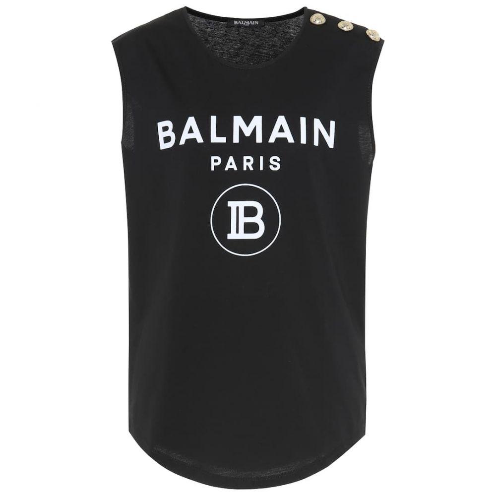 バルマン Balmain レディース トップス タンクトップ【Logo cotton tank top】Noir/Blanc