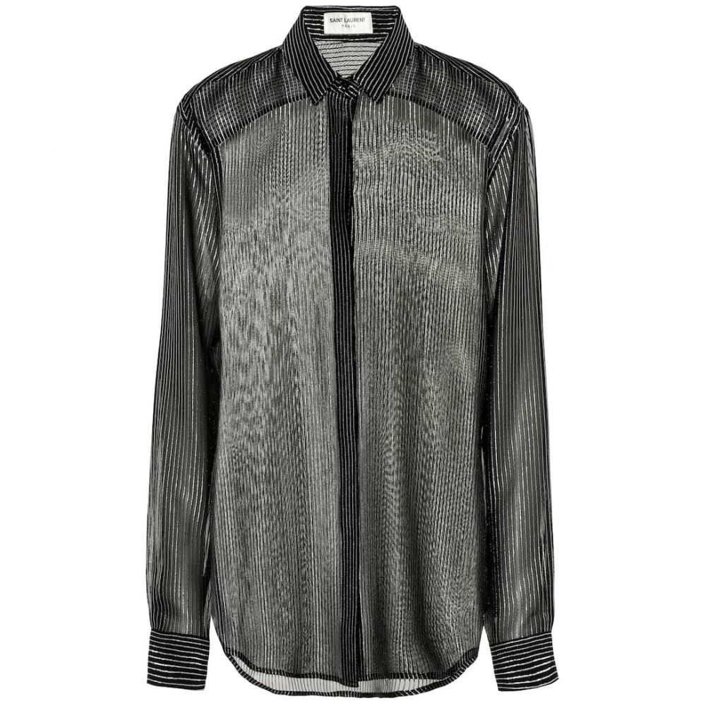 イヴ サンローラン Saint Laurent レディース トップス ブラウス・シャツ【Silk-blend crepe de chine blouse】Noir Argent