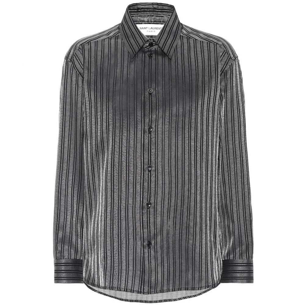 イヴ サンローラン Saint Laurent レディース トップス ブラウス・シャツ【Striped cotton-blend lame shirt】Noir Argent