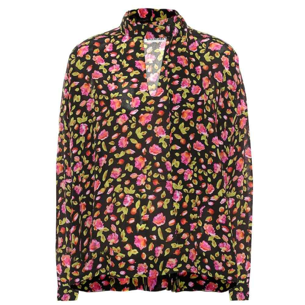 バレンシアガ Balenciaga レディース トップス ブラウス・シャツ【Floral silk blouse】Black/Pink