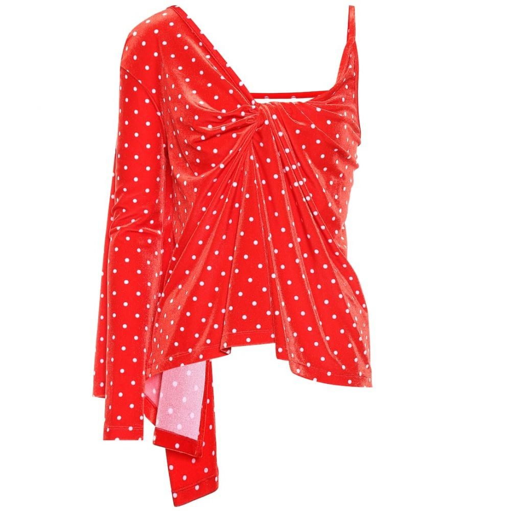 バレンシアガ Balenciaga レディース トップス【Polka-dot velvet top】Red/White