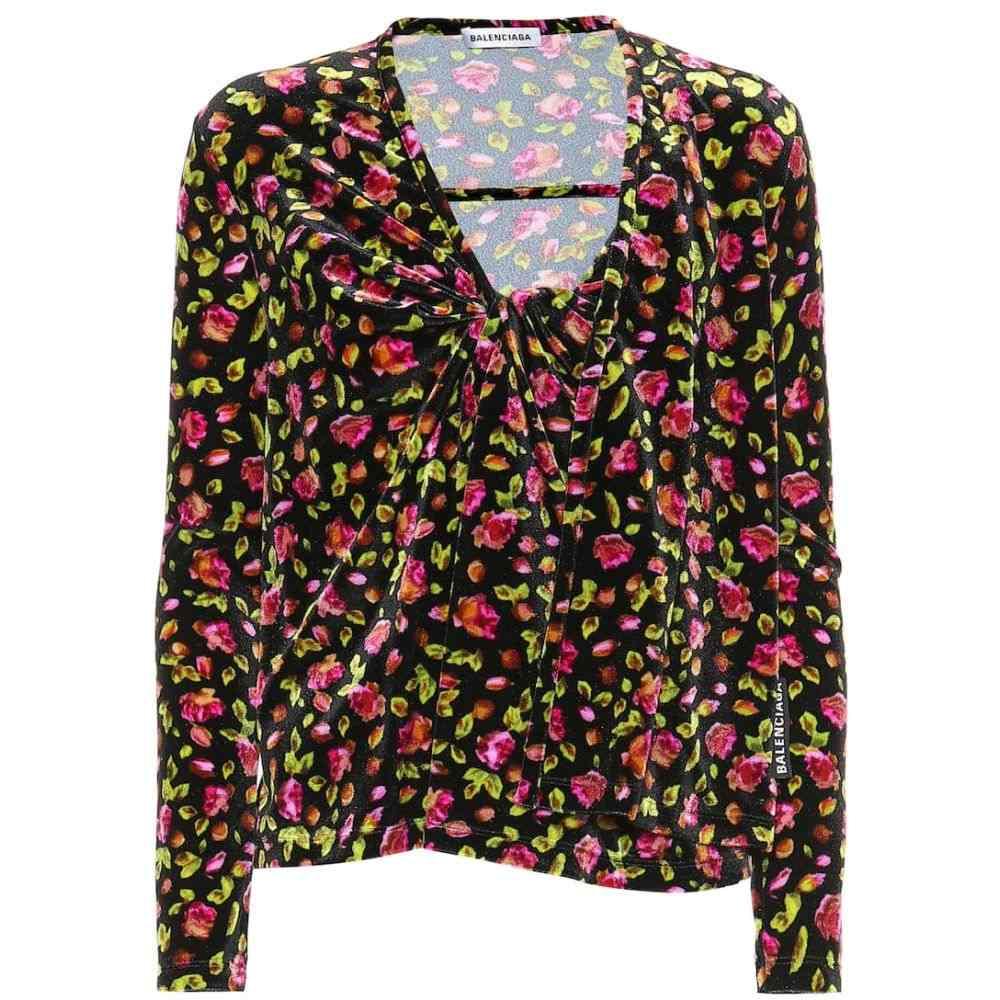 バレンシアガ Balenciaga レディース トップス【Floral velvet top】Black/Pink