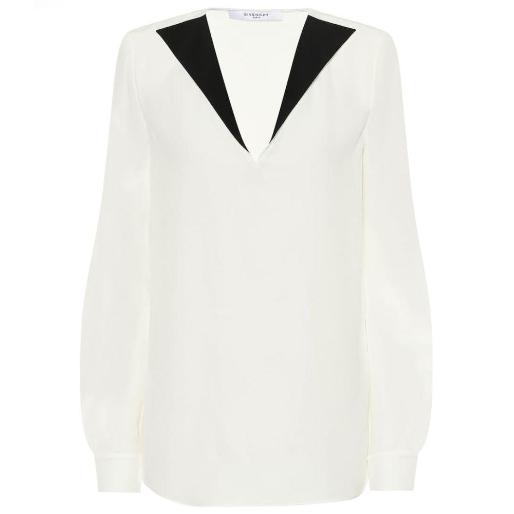 ジバンシー Givenchy レディース トップス ブラウス・シャツ【Silk-crepe blouse】White/Black