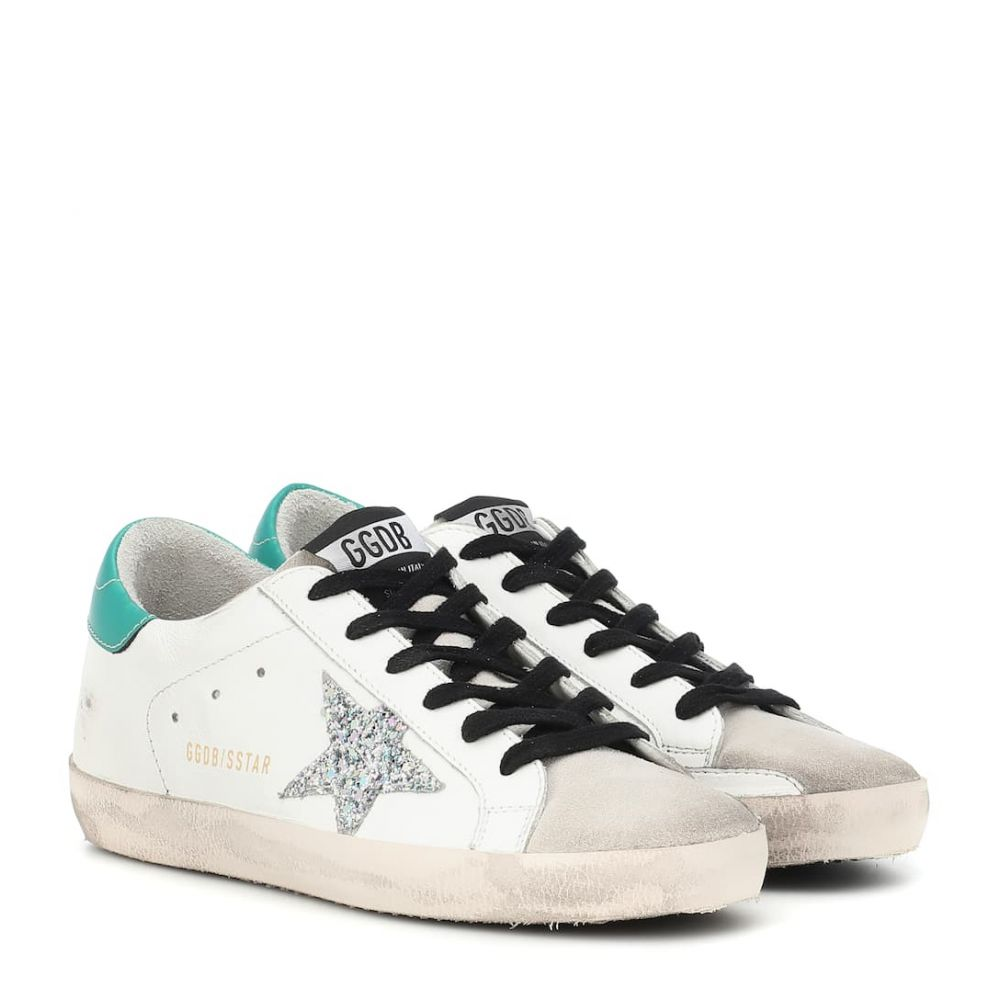 ゴールデン グース Golden Goose レディース シューズ・靴 スニーカー【Superstar leather sneakers】White Green-Silver Glitter
