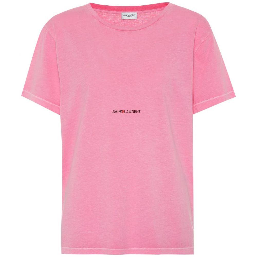 イヴ サンローラン Saint Laurent レディース トップス Tシャツ【Cotton T-shirt】Fuschia/Noir