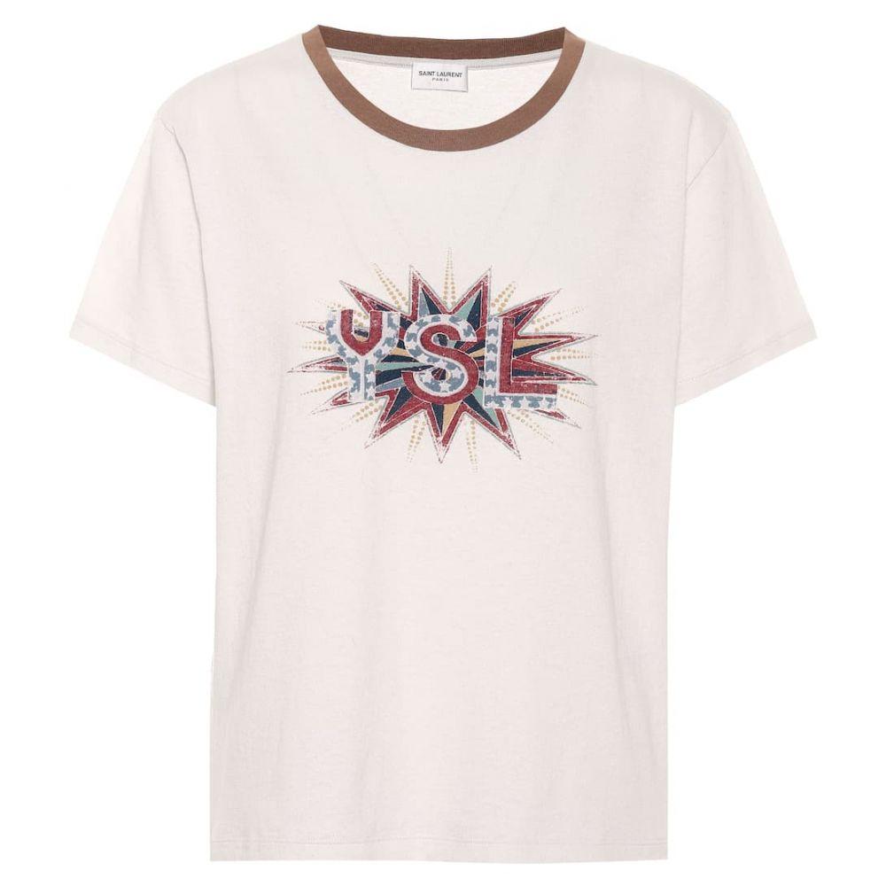 イヴ サンローラン Saint Laurent レディース トップス Tシャツ【Printed cotton T-shirt】Dirty Ecru/Multicolo
