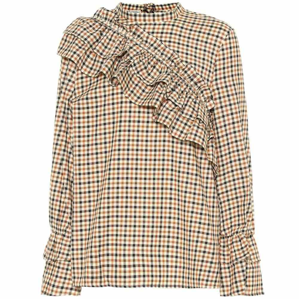 バウム ウンド ヘルガーデン Baum und Pferdgarten レディース トップス【Moya frilled check cotton top】Brown Check