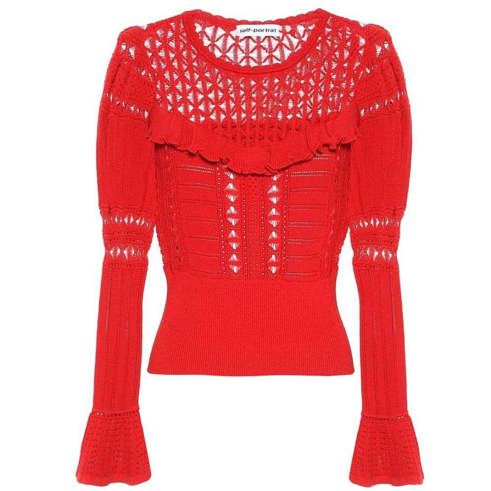 セルフ ポートレイト Self-Portrait レディース トップス ニット・セーター【Cotton sweater】Dark Red