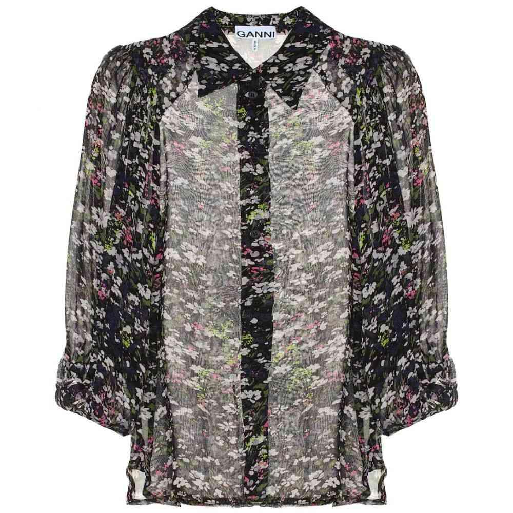 ガニー Ganni レディース トップス ブラウス・シャツ【Floral georgette blouse】Black