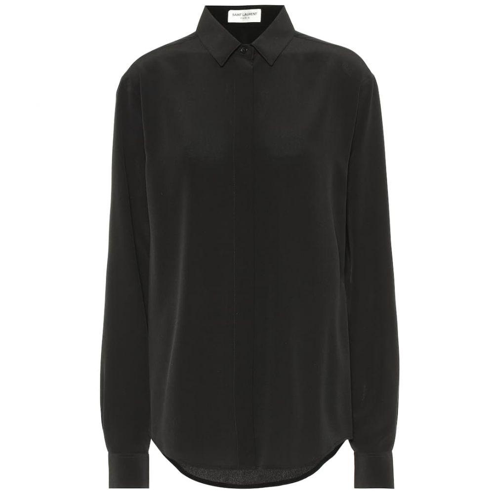 イヴ サンローラン Saint Laurent レディース トップス ブラウス・シャツ【Silk crepe de chine blouse】Noir