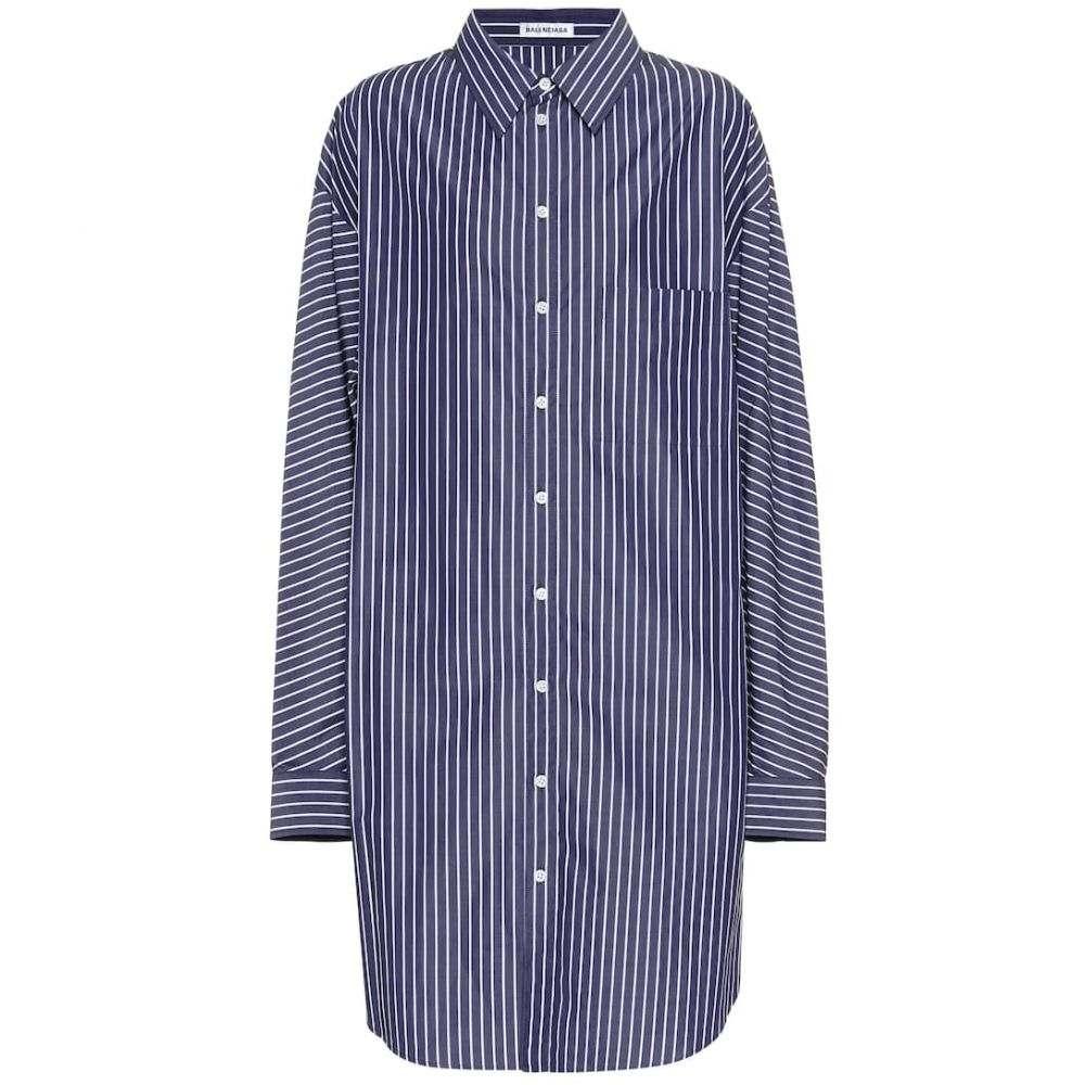 バレンシアガ Balenciaga レディース ワンピース・ドレス ワンピース【Oversized striped cotton shirt dress】Navy/White