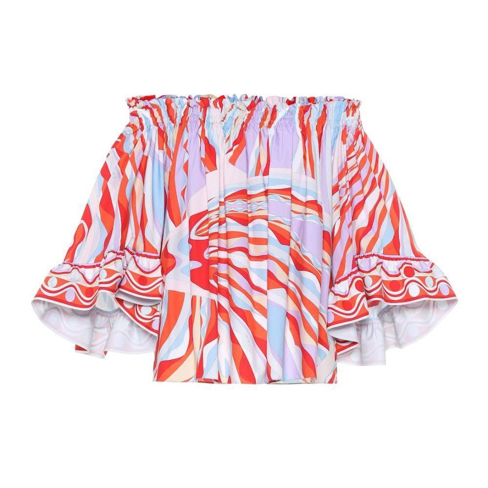 エミリオ プッチ Emilio Pucci レディース トップス オフショルダー【Off-the-shoulder cotton blouse】Corallo/Celeste