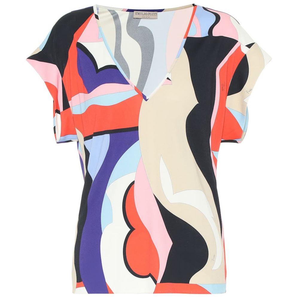 エミリオ プッチ Emilio Pucci レディース トップス【Printed jersey top】Viola/Corallo