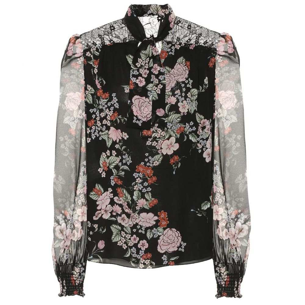 ジャンバティスタ バリ Giambattista Valli レディース トップス ブラウス・シャツ【Floral silk-chiffon blouse】Black Multi Fleurs