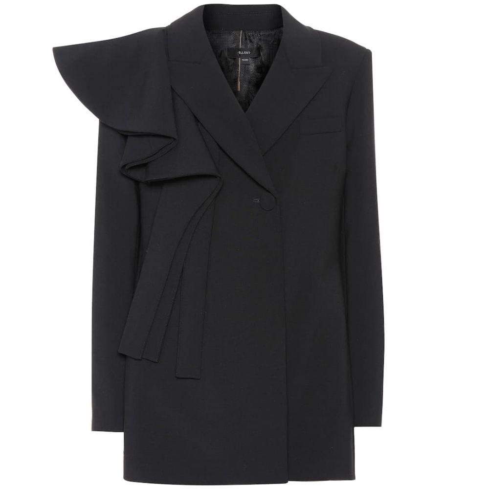 エラリー Ellery レディース スーツ・ジャケット アウター【Schoolyard ruffle-trimmed blazer】Black