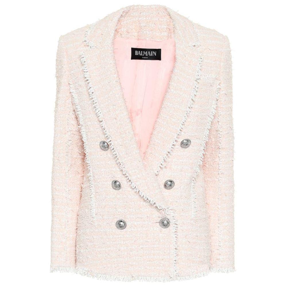 バルマン Balmain レディース スーツ・ジャケット アウター【Tweed blazer】Rose Pale/Blanc