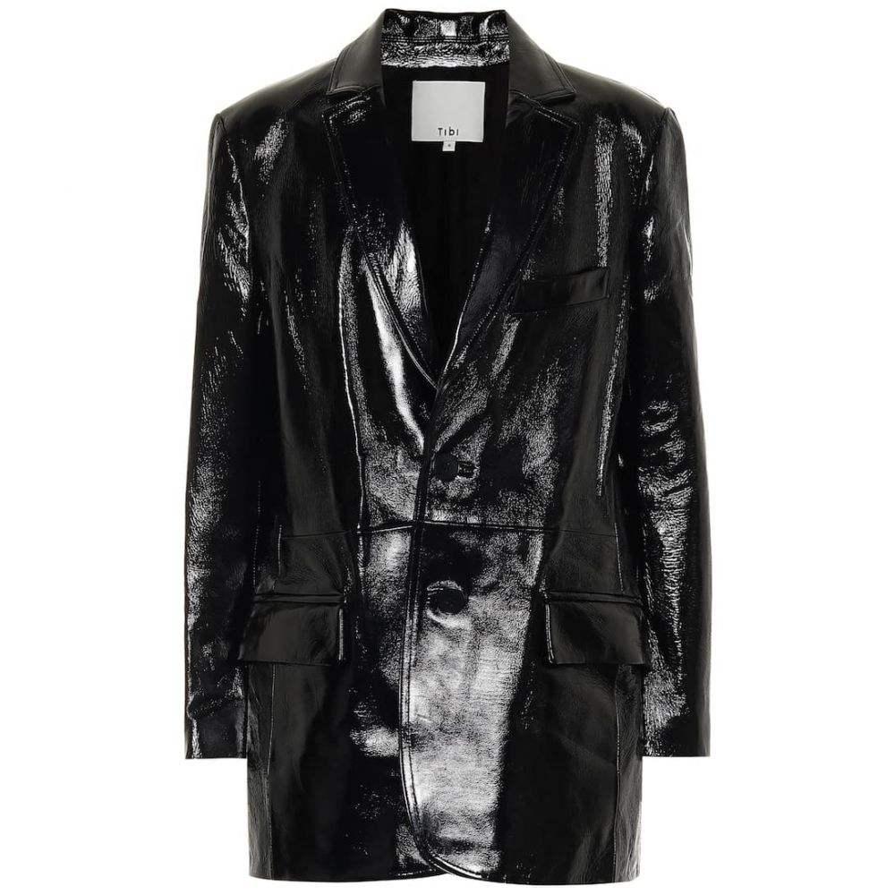 ティビ Tibi レディース スーツ・ジャケット アウター【Leather blazer】Black