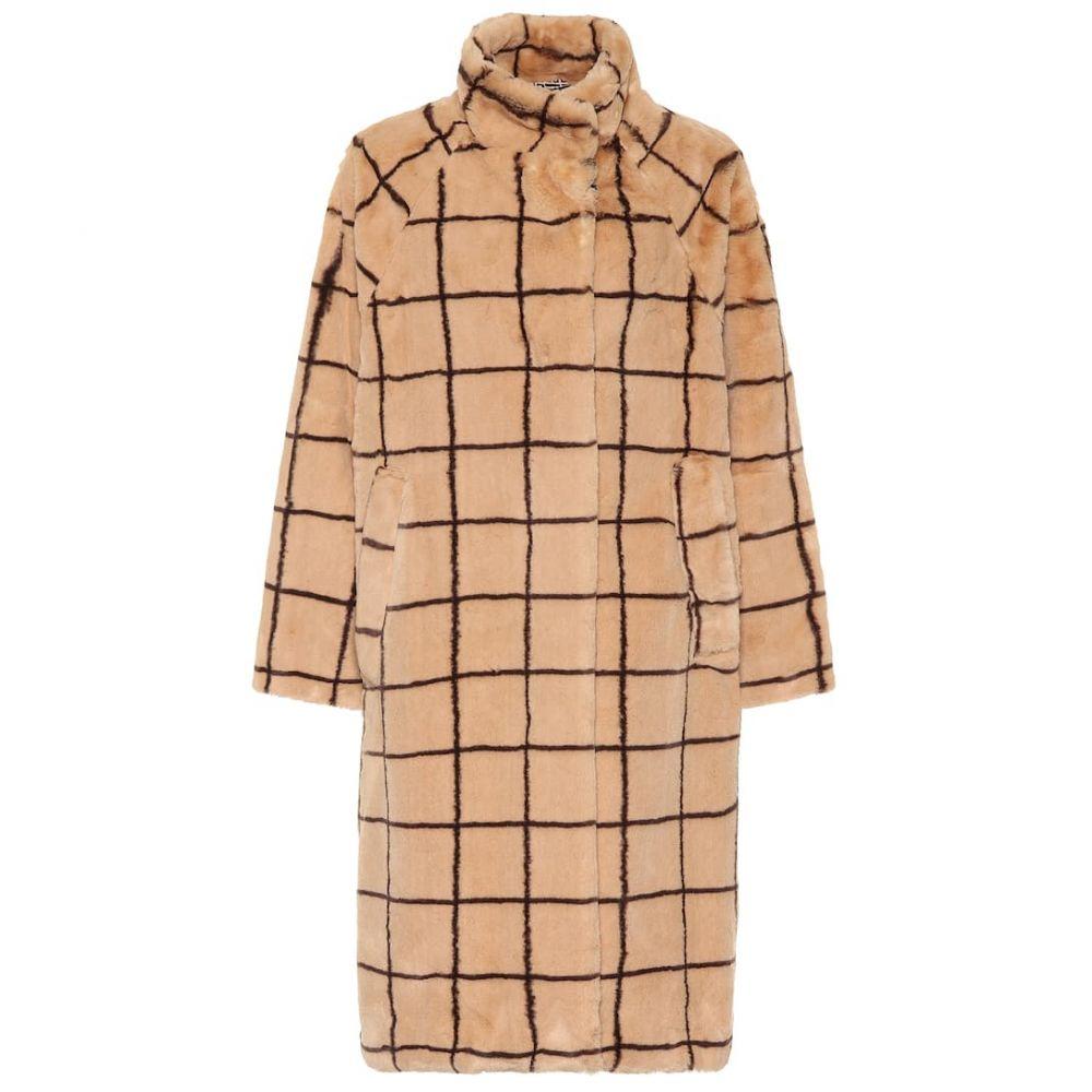 バウム ウンド ヘルガーデン Baum und Pferdgarten レディース コート ファーコート アウター【Demetria checked faux fur coat】Camel Check