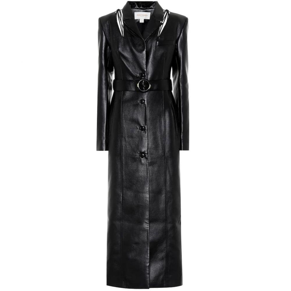 マテリエルティビリシ Materiel Tbilisi レディース コート アウター【Belted faux leather coat】Black