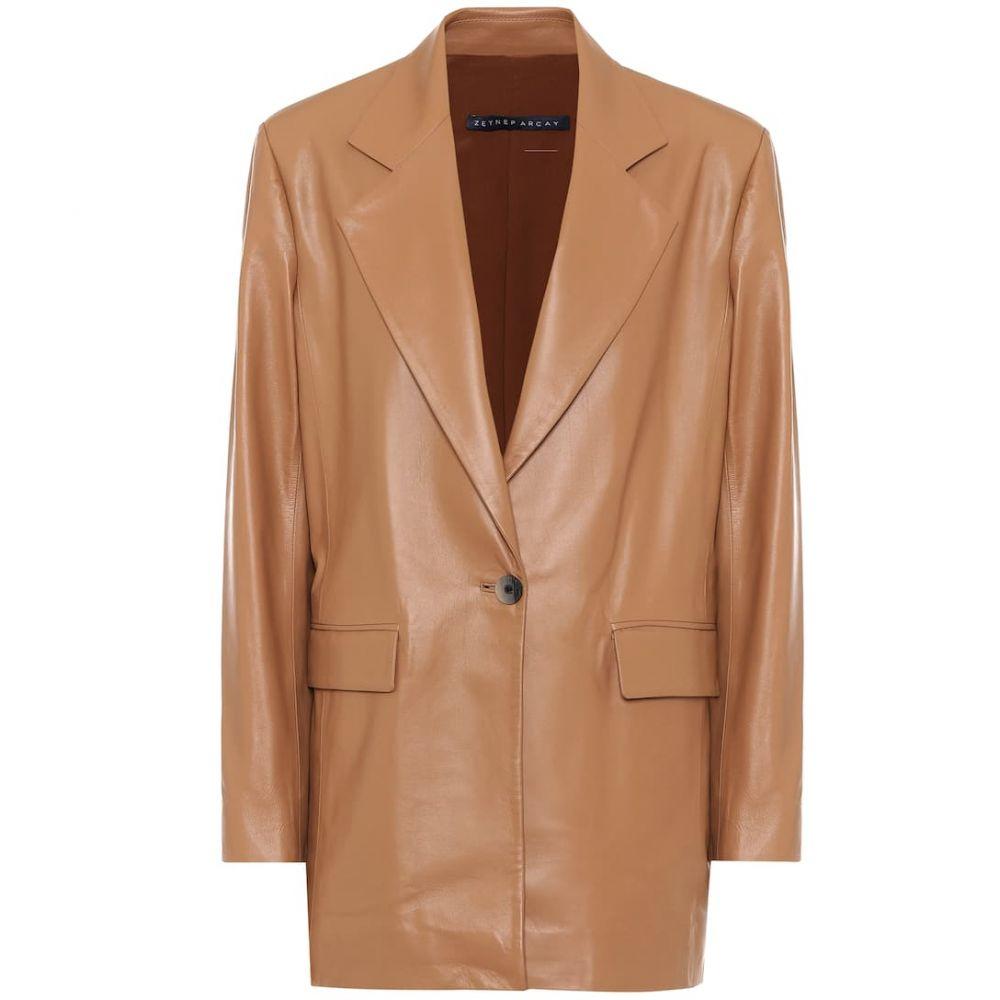 ゼイネプアルケイ Zeynep Arcay レディース スーツ・ジャケット アウター【Single-breasted leather blazer】Butter